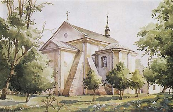 Image - A watercolor painting of the Armenian Church (1706) in Horodenka.